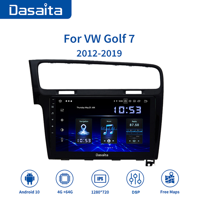 """Dasaita radio samochodowe 1 Din samochód Android 10.0 dla VW Golf 7 2013 2014 2015 2016 2017 nawigacja GPS 10.2 """"ekran dotykowy IPS HDMI"""