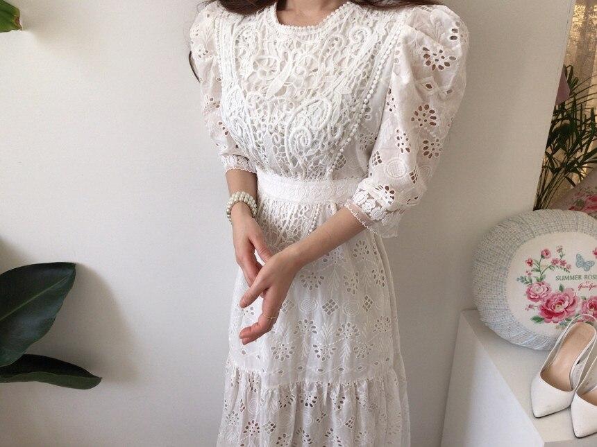 H165172e4ad5048a4a86b8667695a8de03 - Summer Korean O-Neck Half Sleeves High Waist Lace Hook Flowers Hollow Out Midi Dress