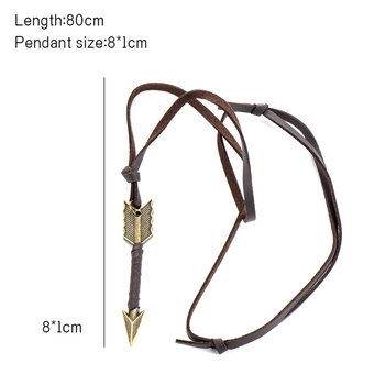 Fashion trend Men Vintage Leather wild Arrow Punk Necklaces alloy Pendants Personality Body Choker Chain Jewelry Gift 5
