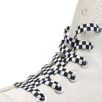 Weiou Checkered Flat Plaid Shoe Laces Black White  Women Men Children Sneakers Boot Silk Screen Grid Printing Shoelaces 60-180cm