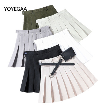 Summer Women Skirts Solid Pleated Mini Skirt Casual High Waist Ladies Skirts Sashes with Pocket Fashion A-line Women Sexy Skirt dabuwawa single breasted solid pocket patched skirts women high waist office ladies casual slim fit a line skirt d18bsk005