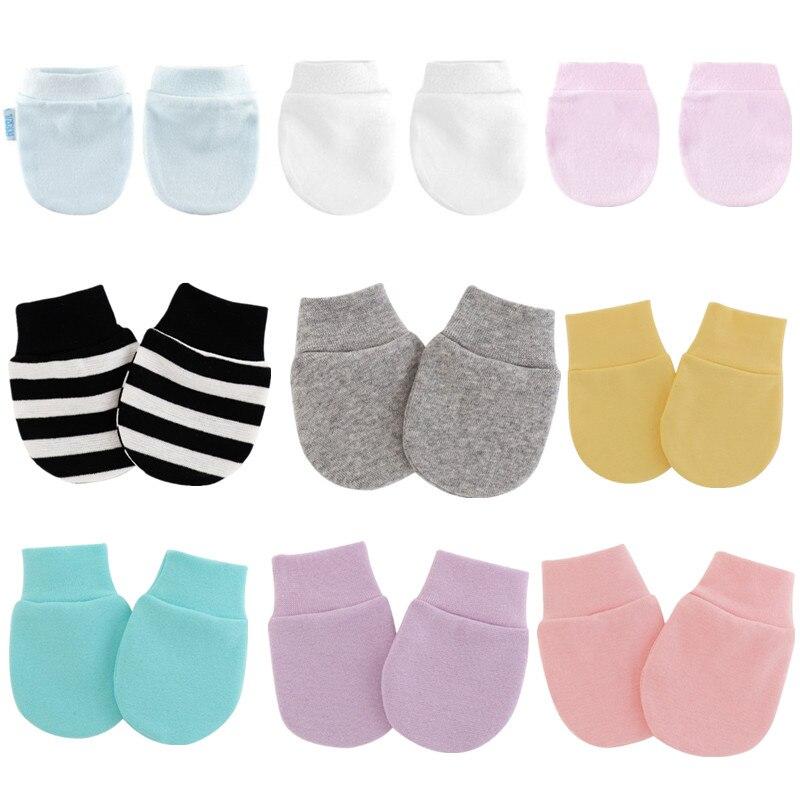 KLV 4 пар/уп. простые милые детские вязаные рукавицы для новорожденных, анти-едят, перчатки для защиты лица, Детская рукавица