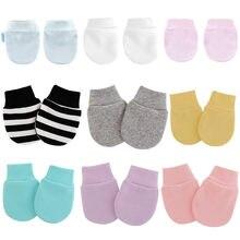 Klv 4 par/set simples bonito bebê tricô mitten recém-nascido anti-comer mão anti-garra rosto proteger luva bebê mitten