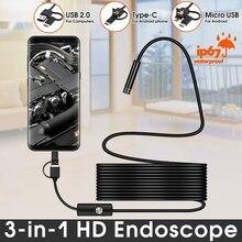Vicsing caméra Endoscope USB de Type C 1m 3 en 1 Android, Wifi, boroscope 6 LED, caméra serpent, pour Mac OS Windows, outils de réparation de voiture