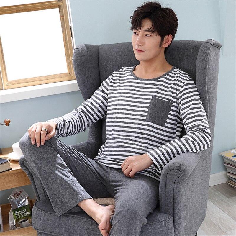 New Spring Men Pajamas Set Warm Cotton Soft Male Casual Pyjamas Suit Nightwear Mens Long Sleeve Sleepwear Top +Pants Nightie