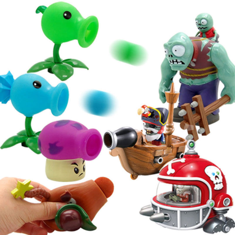 Plant Vs Zombie Toy Legal Strategies Can Launch  Pea Shooter Metal Bucket Barricades Toys For Children Kid Toys Action Toy