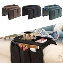 Sofá braço organizador com 4 bolsos e suporte de copo bandeja sofá poltrona pendurado saco de armazenamento para tv controle remoto celular
