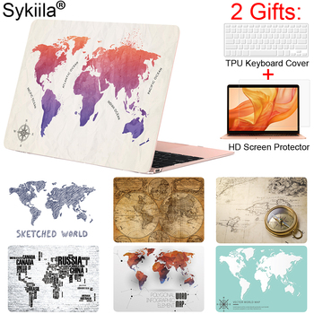 Sykiila for Macbook Air 13 Case Art World Map Print Cover Air 11 Pro 12 13 15 Retina Touch Bar Shell Customized Design Picture