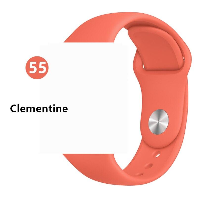 Силиконовый ремешок для apple watch 4 5 44 мм/40 мм спортивный ремешки для apple watch 3 42 мм/38 мм резиновый ремень браслет ремешок для часов apple watch Band Мягкий красочный ремешок iwatch series 4 3 2 1 - Цвет ремешка: Clementine