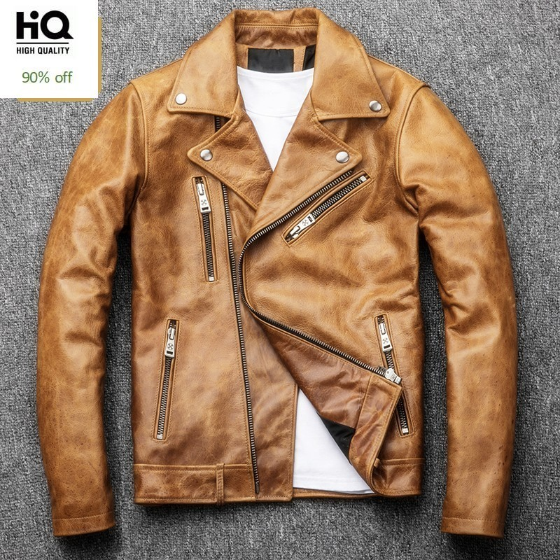 High Quality Men Genuine Leather Jacket Fashion Solid Lapel Collar Outerwear Casual Pocket Zipper Motorcycle Coats Male S-4XL