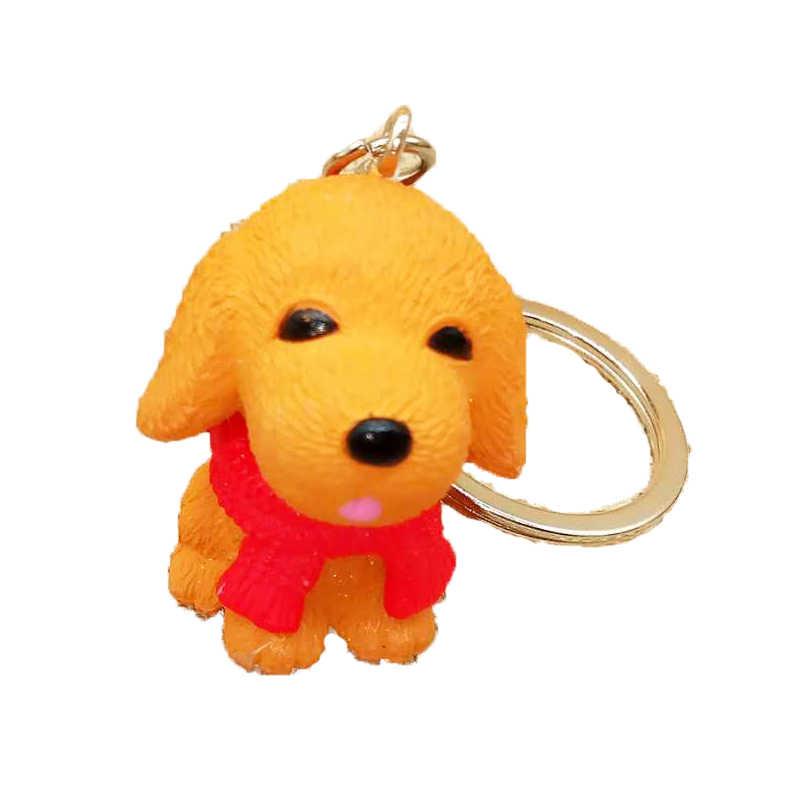 การ์ตูนแฟชั่นสุนัข Key chain ผ้าพันคอเรซิ่นมินิน่ารักสุนัข Key แหวนจี้คุณภาพสูงเครื่องประดับพวงกุญแจคู่ผู้หญิงของขวัญ 2019