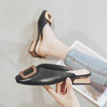Designer Women Pumps Slippers Slip on Mules Low Heel Casual Shoes British Wooden Block Heels Summer Pumps Footwear 1