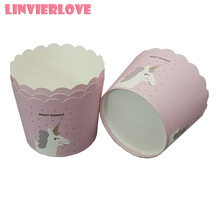 LINVIERLOVE 50pcs Pink Unicorn Cupcake Liner Cake Paper Baking Cup Muffin Cases Mold Small Box Tray Decor Tools