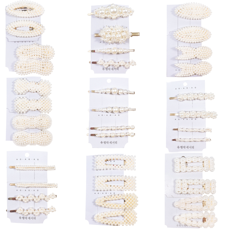 4/Set Global Hot INS Style Pop Hair Clips High-grade Girl Women Hairpin Pearl Strip Of Water Droplets Clip Hair Accessories Set