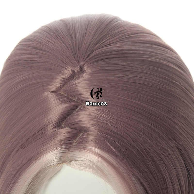 ROLECOS Game LOL Akali Cosplay Wig LOL True Damage Akali Cosplay Hair Brown Mixed Grey Ponytail Synthetic Hair Women Headwear