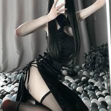 רטרו Cheongsam כותנות לילה אישה גבוהה פתוח מזלג קוספליי תחפושת ארוטית אנימה סקסי הלבשה תחתונה שמלת תחרה תלבושת פנסי Slim אחיד