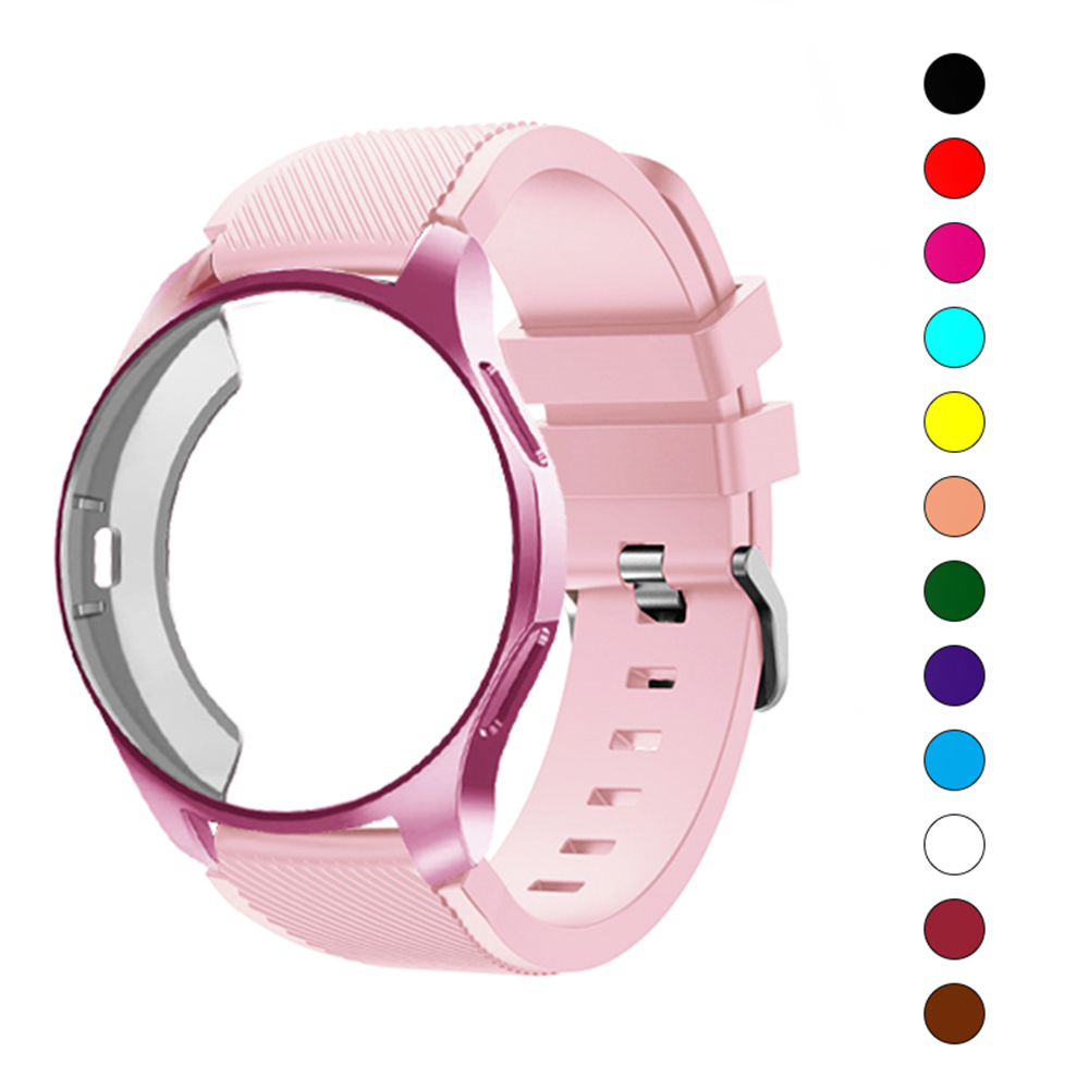 Gear S3 Frontier Silicone Case+band For Samsung Galaxy Watch 46mm/42mm Strap Gear S3 Frontier Band S2 Sports Watchband+Protector
