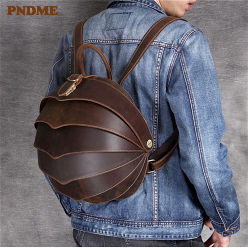 PNDME Vintage Designer Crazy Horse Cowhide Men's Women's Backpack Daily Luxury Genuine Leather Personalized Travel Small Bagpack