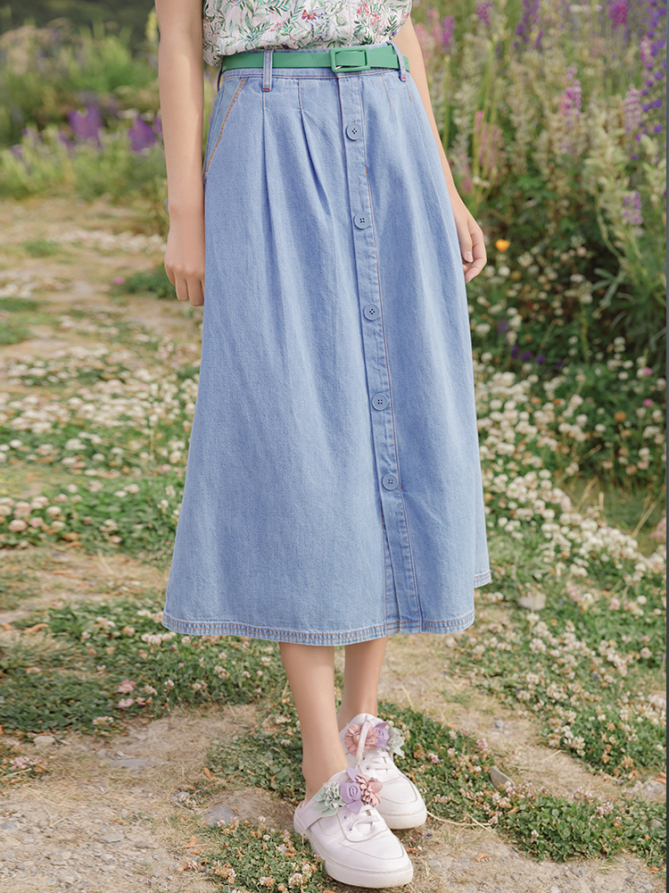 INMAN 2020 Summer New Arrival High Waist Fashion Leisure All-match A-line Slimmed Denim Skirts
