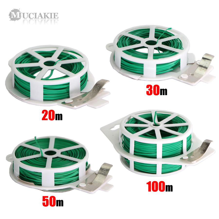 MUCIAKIE 1PC Garden Twist Tie Reusable Green Coated String With Cutter Sturdy Plant Twist Tie Gardening Vegetable Grafting Fixer