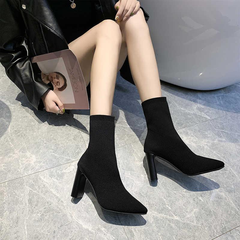 Bottes femme bout pointu bottines Slim Stretch talon épais talons hauts chaussures femme chaussettes bottes automne Bota Feminina