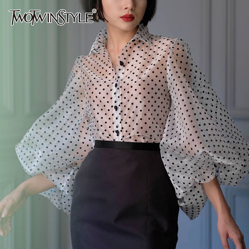 TWOTWINSTYLE Vintage Polka Dot Long Puff Sleeve Womens Tops And Blouses Plus Size Sheer Shirts 2019 Summer Clothes Ladies Korean
