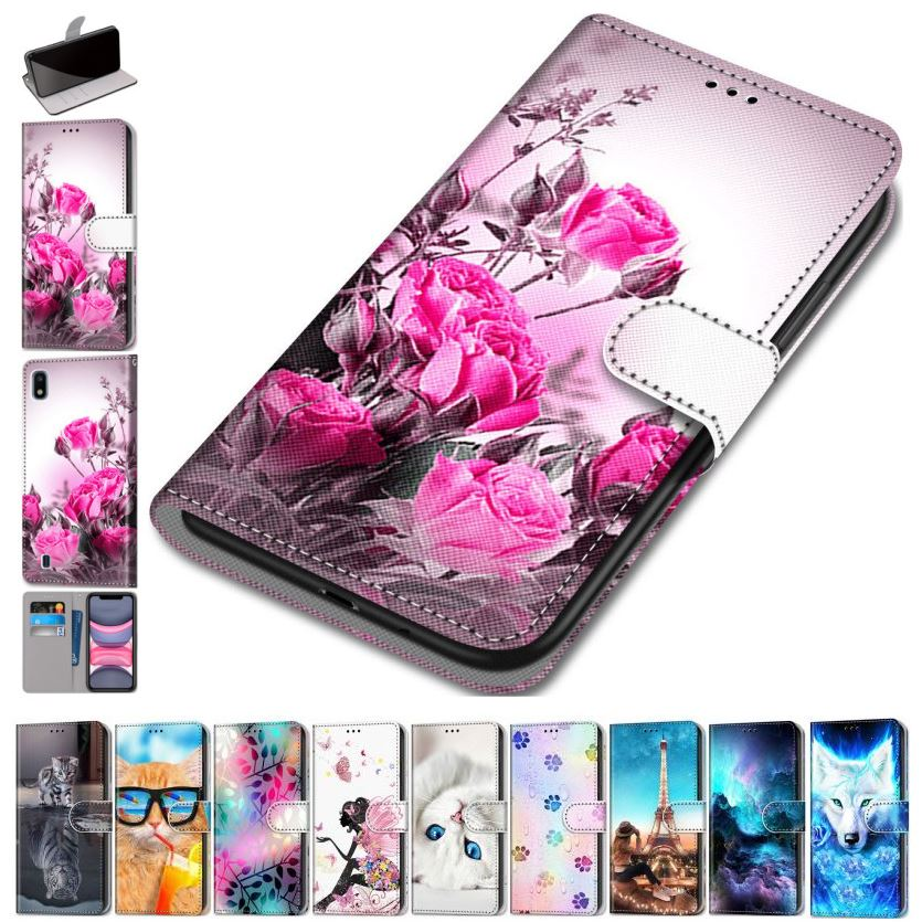 Fashion Flip Leather Phone Wallet For Samsung Galaxy J7 Pro J8 2018 J710 J7 2016 Beast Flip Phone Case Floral Stand Cover D08F