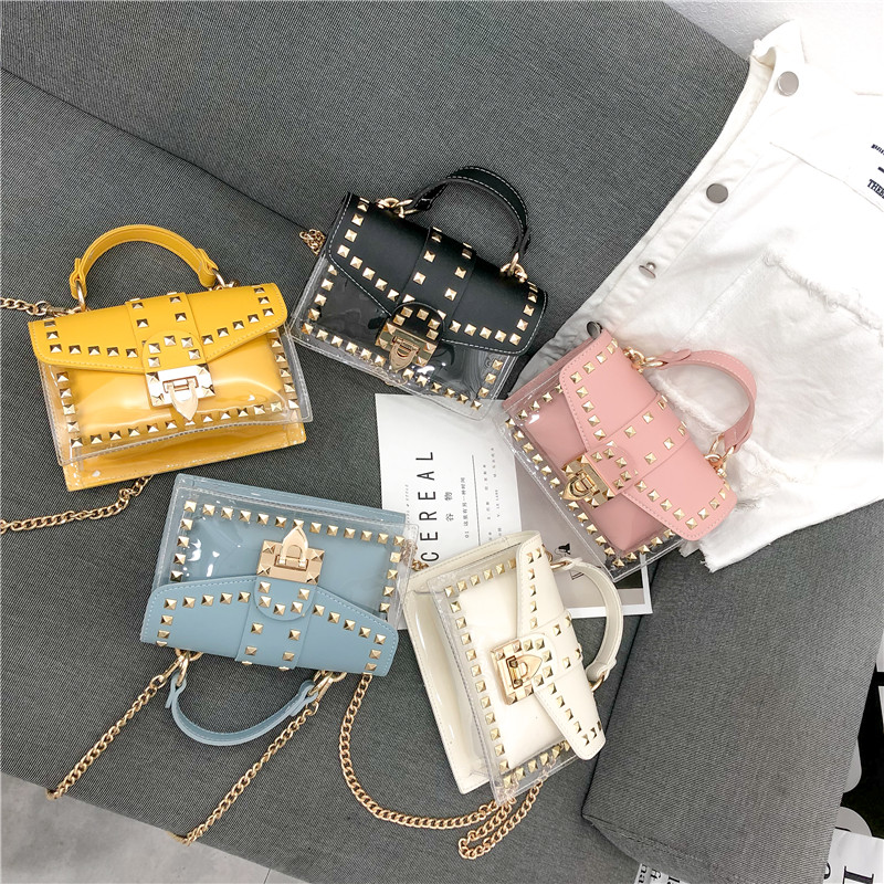 Brand Designer Woman Bag 2019 Fashion Shoulder Messenger Bag Chains Rivets Transparent Small Square PU+PVC Handbag Sac Yellow