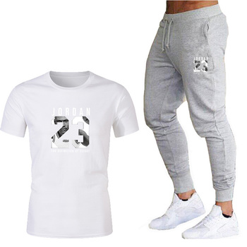 Boutique men's suit T-shirt + pants two-piece wholesale wholesale casual sportswear 23 printing suit track and field sportswear promotion screen printing uv exposure unit t shirt stencil ink jets diy with wholesale price and imported quality