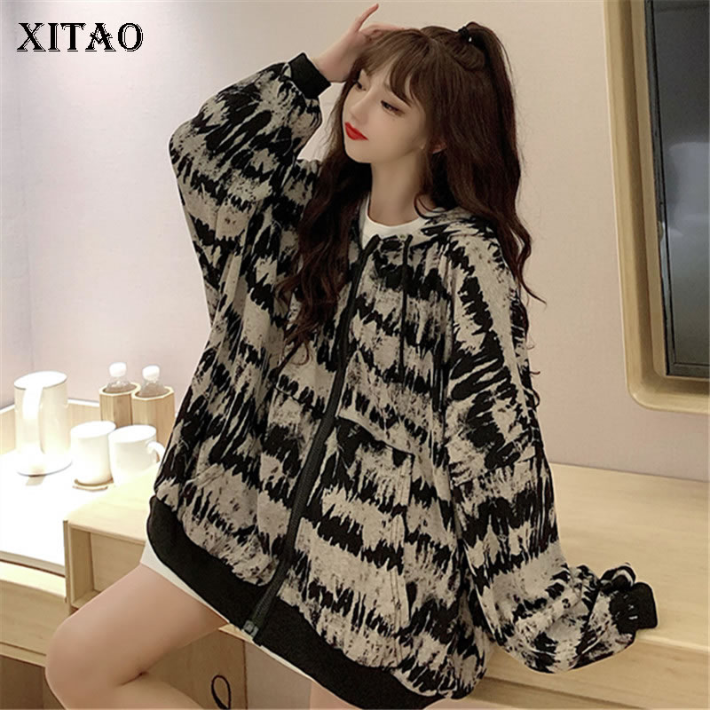 XITAO Trend Hoodies Women Personality Plus Size Zipper Sweatshirt Women Lazy Oaf Trend Women Clothes 2020 Autumn New DZL2185 1