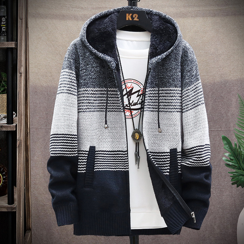 2020 Men Hooded Cotton Cardigan Autumn Winter Warm Thick Pocket Zipper Patchwork Coat Knitted Casual Male Sweater Pull Homme