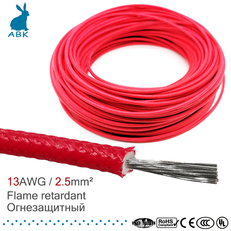 <font><b>13AWG</b></font> 2.5 square millimeter wire <font><b>cable</b></font> flame retardant <font><b>silicone</b></font> rubber glass fiber high temperature resistance power <font><b>cable</b></font> soft image