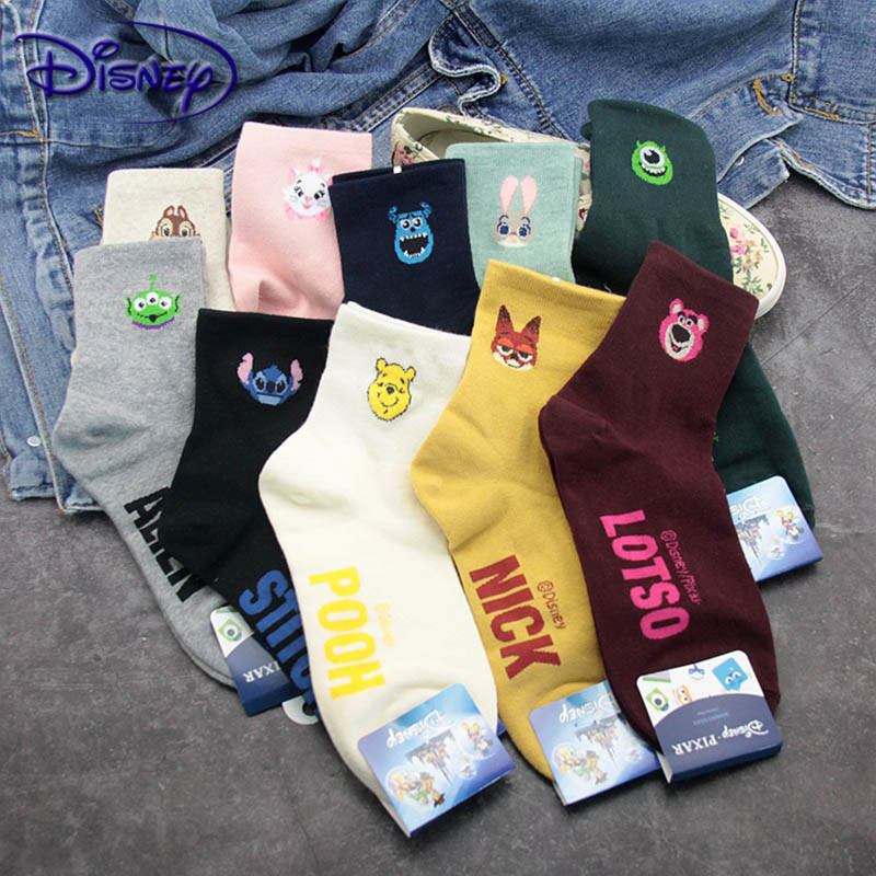 Disney Cartoon Women's Socks Spring And Autumn Ladies Tube Cotton Socks Casual Furniture Women's Socks