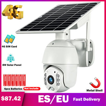HISMAHO 4G SIM Card 1080P IP Camera WIFI 8W Solar Panel Battery Security Camera Outdoor PTZ CCTV Camera Smart Security Monitor 1