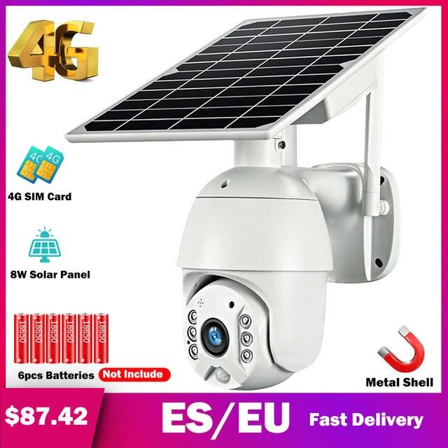 HISMAHO 4G SIM Card 1080P IP Camera WIFI 8W Solar Panel Battery Security Camera Outdoor PTZ CCTV Camera Smart Security Monitor 1