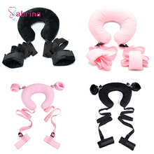 Plush Sexy Ankle Cuffs Bondage BDSM Sex Toys for Couple Game Women Gay Sex Slave Fetish Erotic Accessories Neck Belt Sex Toys white straight belt women invisible double y type pussy lock strap on fetish bdsm toys fetish bondage erotic sex shop