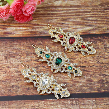 Sunspicems Gold Color Arabic Women Hairpins Clip Hairgrip Full Rhinestone Moroccan Family Home Jewelry Tie Up Hair Loving Gift 2