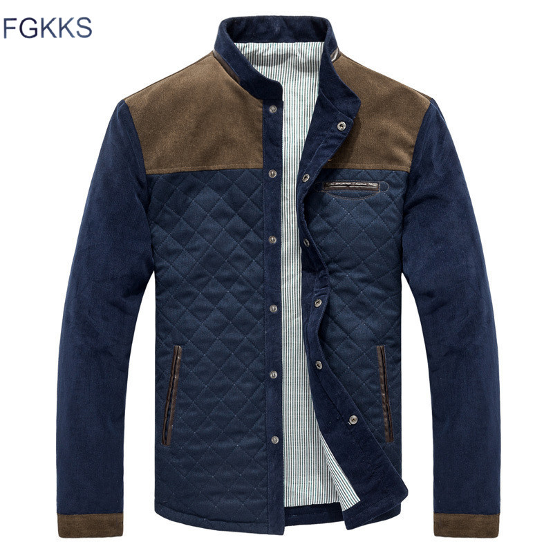 FGKKS Men Fashion Jackets Overcoat Autumn Men's Splice Casual Slim Fit Jacket Coat Male High Quality Jackets Clothing