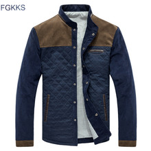 FGKKS Men Fashion Jackets Overcoat Autumn Mens Splice Casual Slim Fit Jacket Coat Male High Quality Jackets Clothing