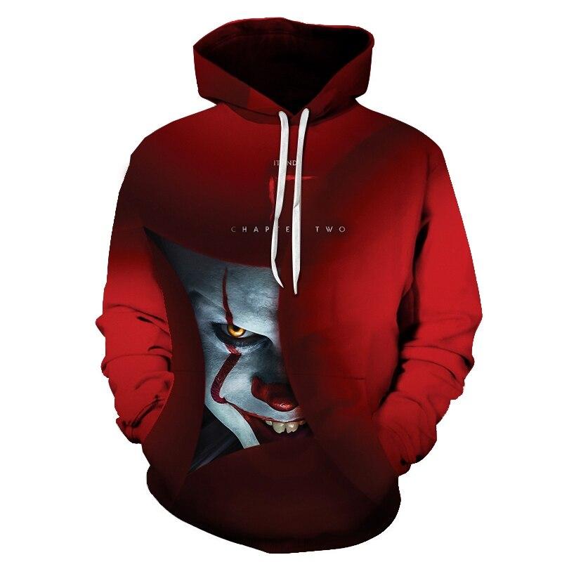 Horror Movie IT Clown 3D Print Hoodie Funny Pullover joker sweatshirt Hip Hop Sudadera hombre coat winter jacket men harajuku