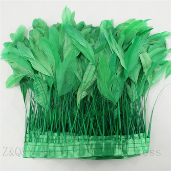 2-10 yardas de natural 15-20CM (6-5 pulgadas) pelo de cola rasgado teñido hierba verde hecho paño borde decoración artesanal joyería pluma