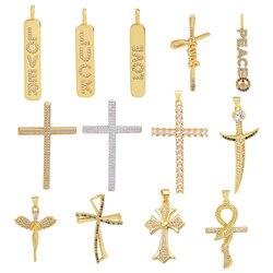 Juya DIY Religious Jewelry Supplies Handmade Cubic Zirconia Cross Charms For Women Men Prayer Christian Jewelry Making