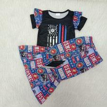 Crianças conjunto de roupas remake bebê menina primavera outfit bebê menina boutique crianças roupa de impressão superior e inferior sino pant outfit