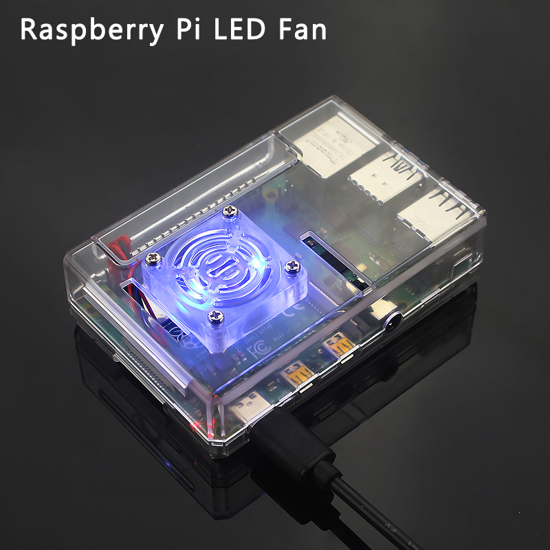 Raspberry Pi LED Cooling Fan 5V Back Light Shining LED Fan With 2 Blue Light LED For Raspberry Pi 4B/3B+/3B