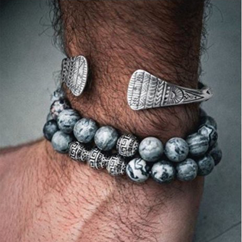 Noter Mens Bracelet Vintage Ball Buddha Ethnic Braslets Real Natural Map Volcanic Stone Brazalete Male Pair Braclet Accessories