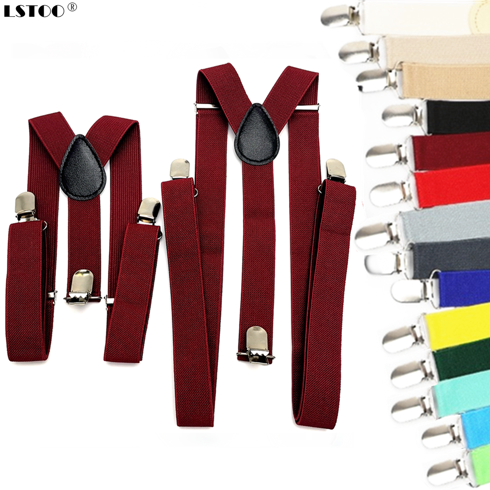 Parent-Kids Wine Red Suspenders Men Women Boys Girls Elastic Adjustable Kids Braces Unisex Children Adult Clothes Accessories