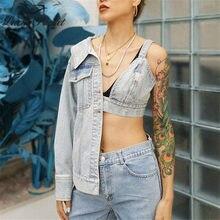 Yeni kadın yaz mavi ince asimetrik uzunluk Patchwork Benim giyim kadın seksi moda ceket bayanlar Streetwear Coats ZM72