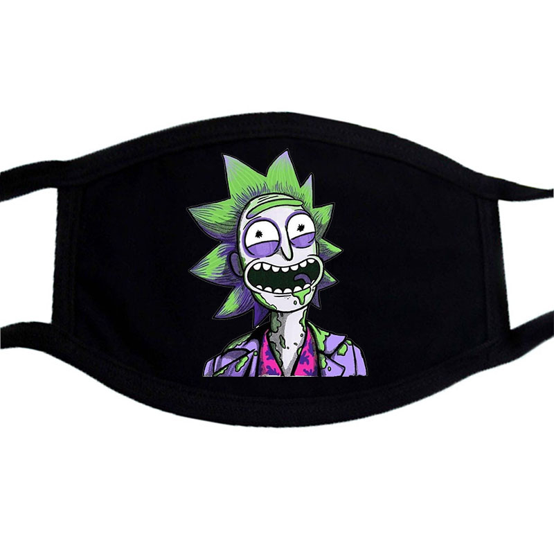 Rick And Morty Funny Face Masks Black Bilayer Winter Keep Warm Cotton Mask Unisex Washable Dustproof Cartoon Anime Print Masks