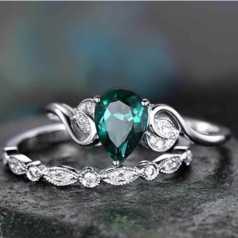 Cellacity 925 Серебряное кольцо для женщин набор двойных колец 2 шт./лот с 6*8 мм Капля воды изумруд драгоценные камни Помолвочные ювелирные изделия
