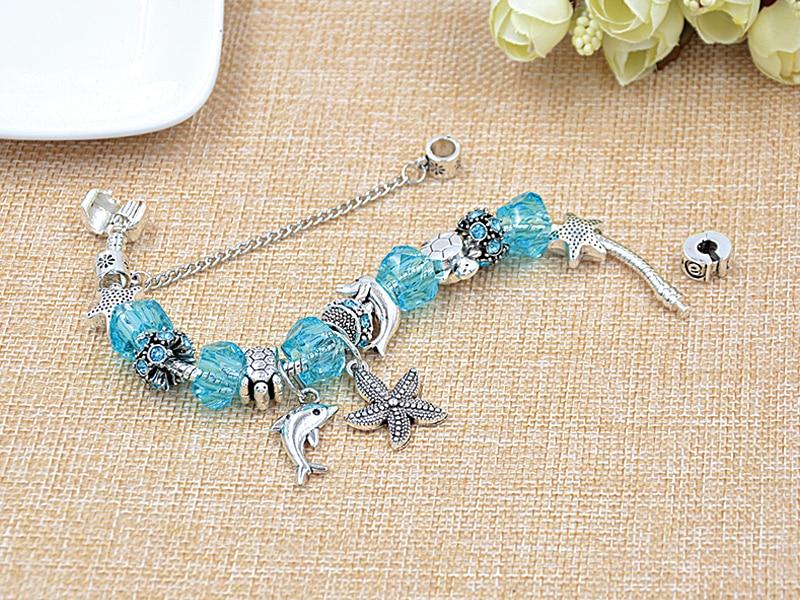 Dropshipping 5 Colors Ocean Starfish Dolphin Bead Bracelet DIY Crystal Charm Bracelets & Bangles Fashion Jewelry Gift Pulseras